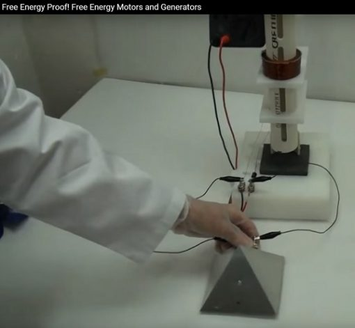 Free Energy Demo Kit Plans, Photo of man holding small aluminum pyramid