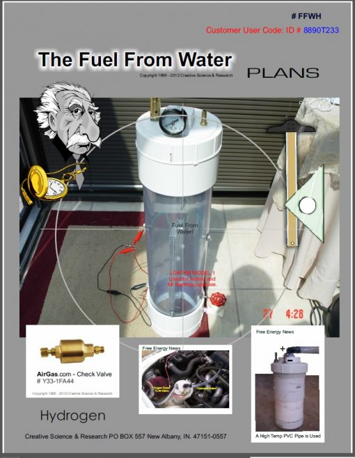 Cover for our Fuel from water plans. Show a large hydrogen cell.
