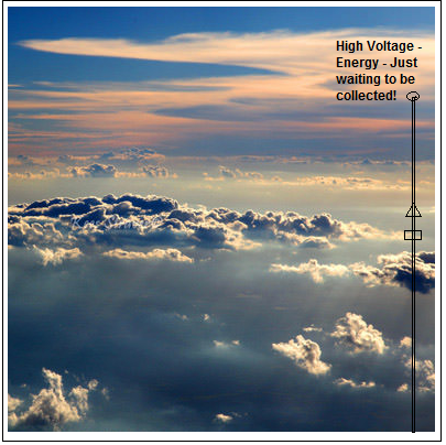 photo of free energy tower high into the sky clouds