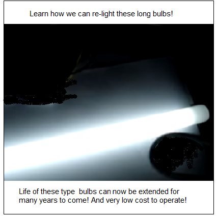 Photo of free energy generator lighting one fluorescent bulb