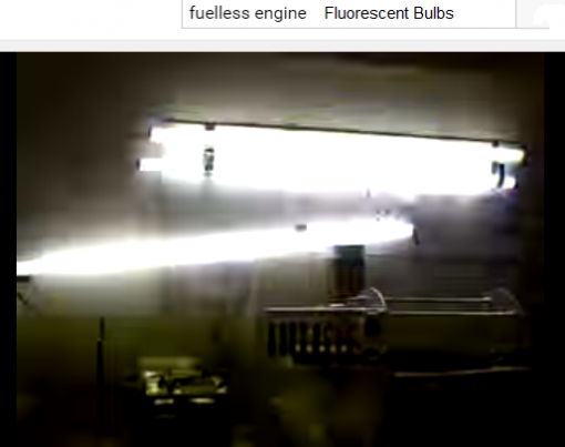 Photo of a strange free energy experiment using fluorescent bulb and our Fuelless enegine