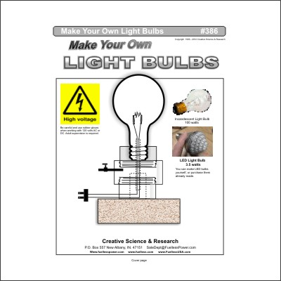 Make your own light bulbs Plans E-book cover order number 386