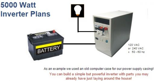 Photo of 5000 watt inverter DIY, battery and bulb