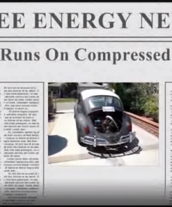 Free energy newspaper, VW runs on compressed air, with pohto of VA car.