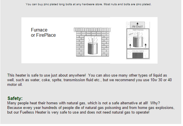 Fuelless heater in fireplace or furnace
