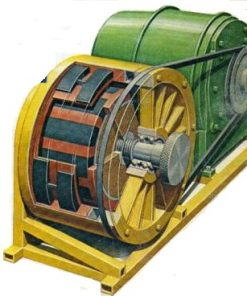Color drawing of Howard Johnson free energy motor