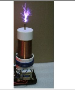 Tesla coil emiting white and purple arcs
