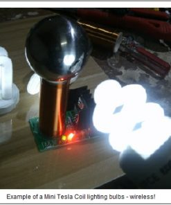 Photo of a small Tesla generator, lighting light bulbs