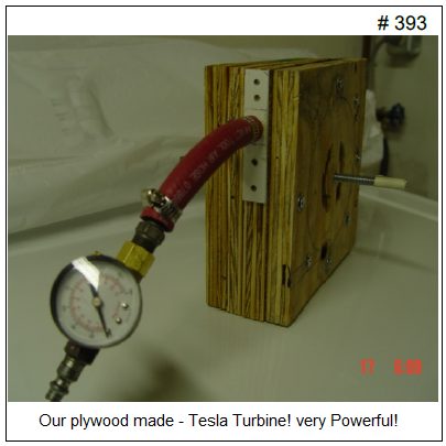 Photo of a DIY wooden and aluminum Tesla turbine motor