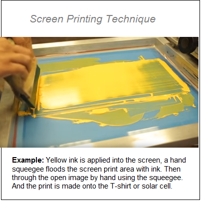 Photo of man screen printing with yellow ink and wooden squeegee