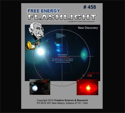 front cover of free energy flashlight plans