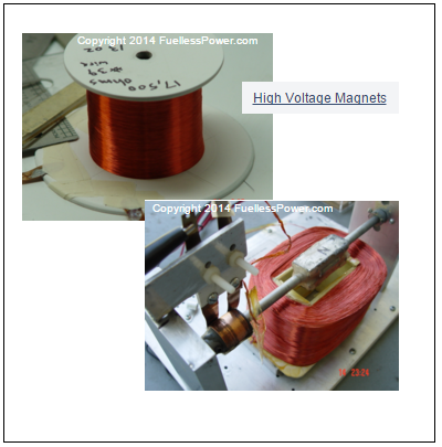 Two photos of our Fuelless Engine motor coils