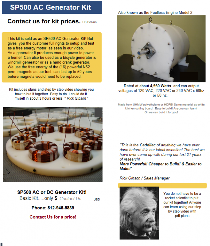 SP500 Generator Model 2 Kit information