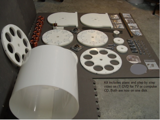 SP500 Generator model 2 Kit Parts layed out on shop floor