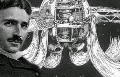 photo and drawing of inventor Nikola Tesla with his flying saucer air craft