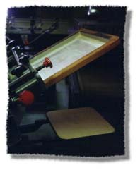 screen printing screen in up position