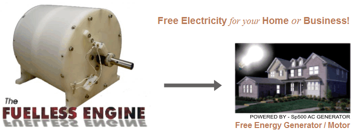 Free electricity for your home, white motor / generator powering a home