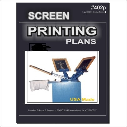 Screen Printing Plans E-book cover order number 402