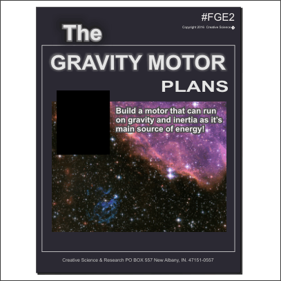 The Gravity Motor plans cover order number FGE2